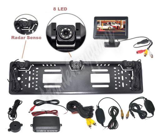 cw2-spzcam43 Bezdrátový parkovací systém s kamerou a 2 senzory v SPZ, 4,3
