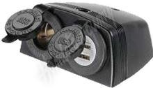 34526 dvojitá zásuvka s panelem 1x CL + 2x nabíječka USB voděodolná