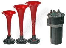 sn-023/12Vred 3-tónová fanfára 220mm, 12V červená s kompresorem