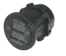 34545 Digitální ampérmetr a voltmetr 6-30V červený