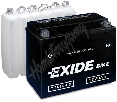 Motobaterie EXIDE BIKE Maintenance Free YTX4L-BS (12V, 3Ah, 50A)