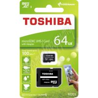 8064gCL10To Paměťová karta MicroSDXC 64GB 100M UHS-I + adaptér, TOSHIBA