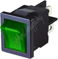 47031 Spínač kolébkový hranatý 10A zelený s podsvícením
