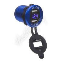 34565B 2x USB nabíječka s voltmetrem, hliníková do panelu, modrá