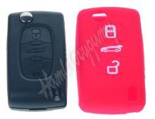 481PG104red Silikonový obal pro klíč Peugeot, Citroën, 3-tlačítkový, červený