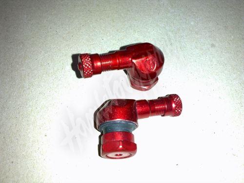 Ventilek alu bezdušový zahnutý moto Červený 11,3 mm
