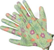 Rukavice zahradní zelené s květinami vel. 8