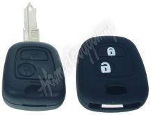 481PG108bla Silikonový obal pro klíč Peugeot, Citroën, 2-tlačítkový, černý