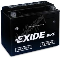 Motobaterie EXIDE BIKE Factory Sealed AGM12-4 (12V, 3Ah, 50A)
