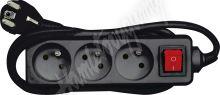 Kabel prodlužovací 5,0 m vypínač 3 zásuvky,černý typ E