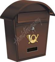 Poštovní schránka se stříškou oblou 380x320x105mm hnědá