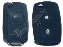 481VW104bla Silikonový obal pro klíč Škoda, VW, Seat 2-tlačítkový, černý