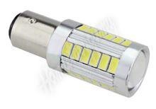 95157 LED BAY15d (dvouvlákno) bílá, 12-24V, 33LED/5730SMD s čočkou