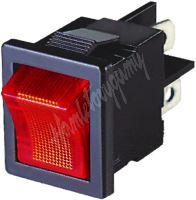 47030 Spínač kolébkový hranatý 10A červený s podsvícením