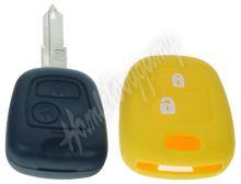 481PG108yel Silikonový obal pro klíč Peugeot, Citroën, 2-tlačítkový, žlutý